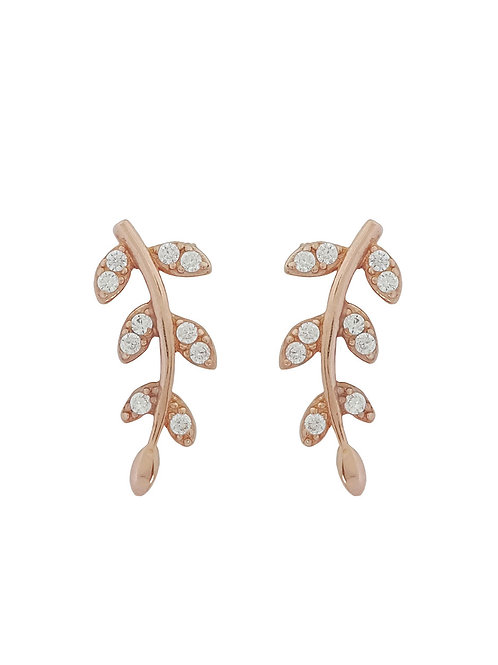 Rose Gold Plated Leaf Stud Earrings in 925 Sterling Silver