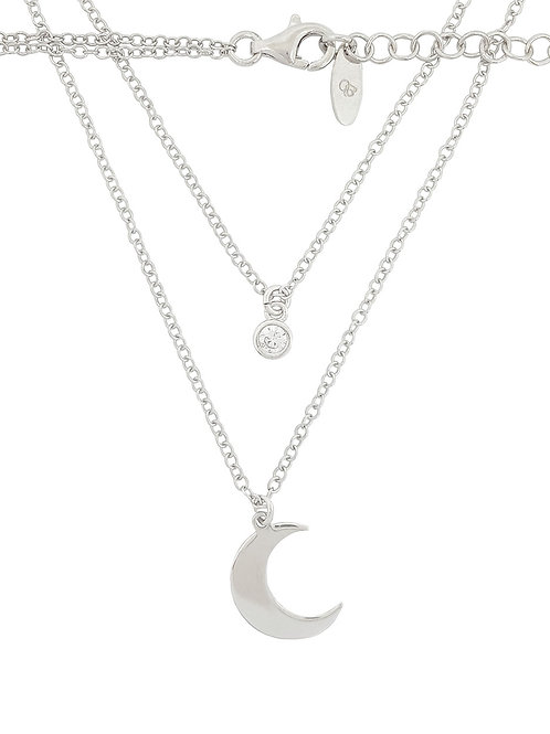 47cm 925 Sterling Silver CZ and Moon Charm Double Chain Necklace