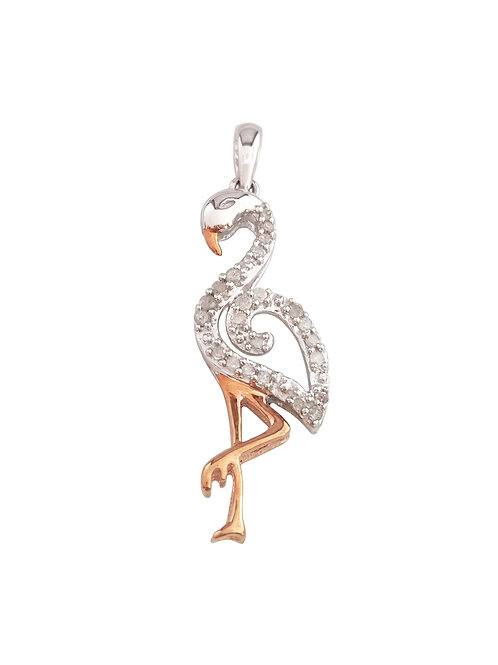 0.15ctw Diamond Flamingo Pendant in 10k White Gold