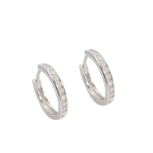 CZ Huggie Earring in Sterling Silver