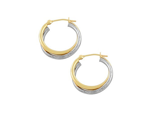 9ct Yellow and White Gold Entwined Hoop Earrings