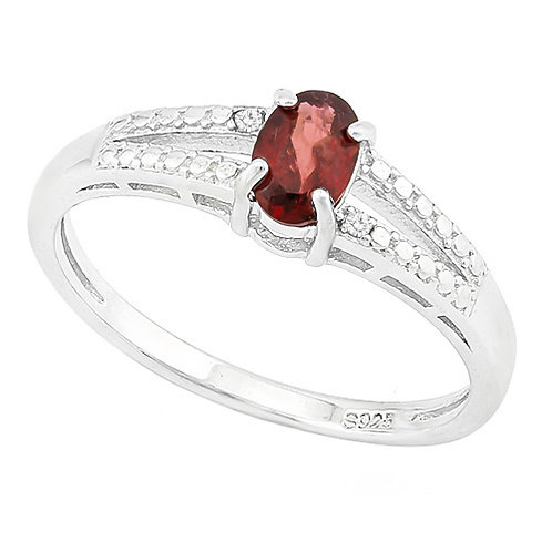 0.46ctw Garnet and Diamond Ring in 925 Sterling Silver- Size 7
