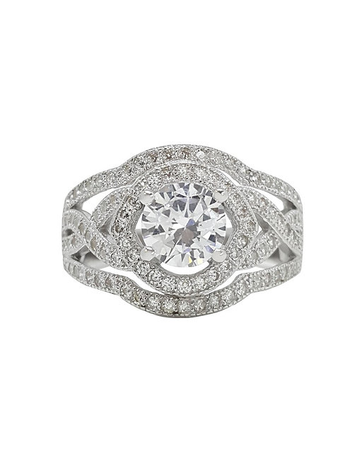 CZ Ring with Milgrain Finish in 925 Sterling Silver