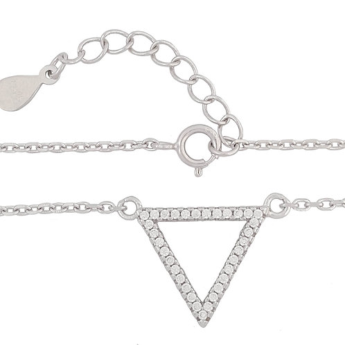 Clear CZ Triangle Shape Pendant with Necklace in 925 Sterling Silver