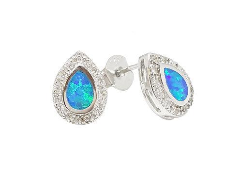 Tear Drop Style Opal and CZ Stud Earrings in 925 Sterling Silver