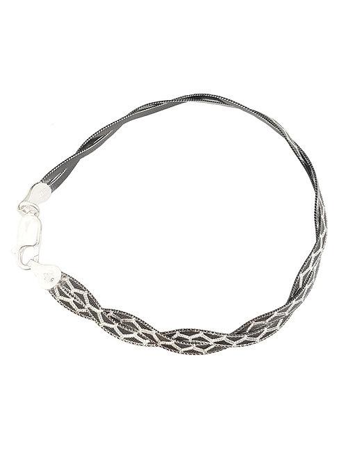 19cm Sterling Silver & Black Rhodium Magic Snake Design Bracelet