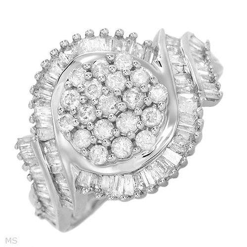 10K White Gold Cluster Diamond Ring