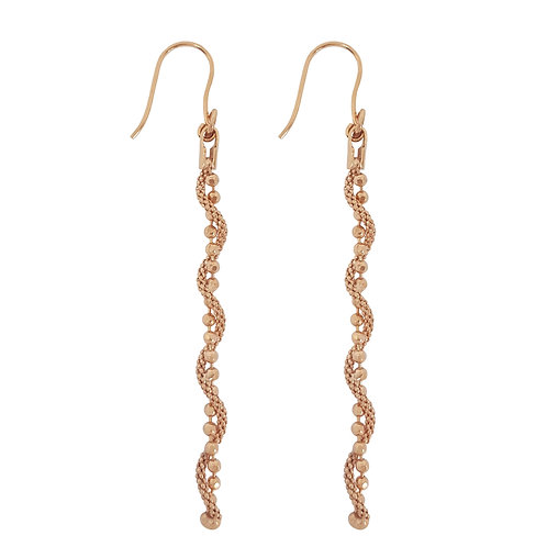Rose Gold Plated Popcorn & Ball Chain Style Earrings in 925 Sterling Silver