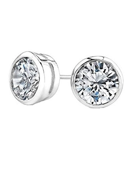 0.5ct Clear Cubic Zirconia Tube Studs in 925 Sterling Silver