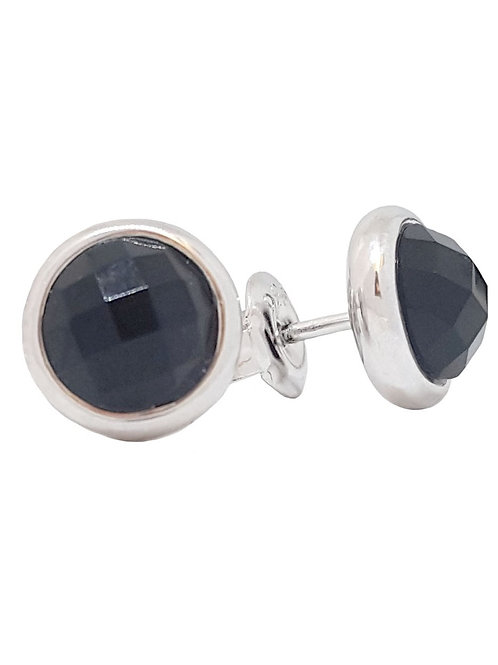 Black CZ Round Stud Earrings in 925 Sterling Silver