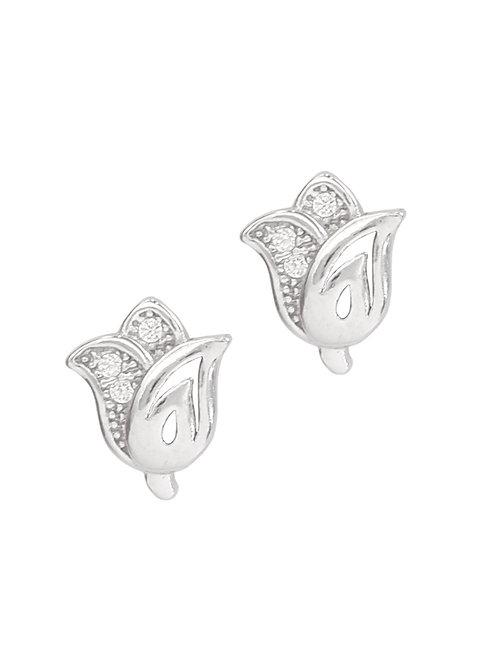Clear Cubic Zirconia Tulip Shape Earrings in 925 Sterling Silver
