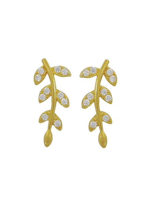 Yellow Gold Plated Leaf Stud Earrings in 925 Sterling Silver