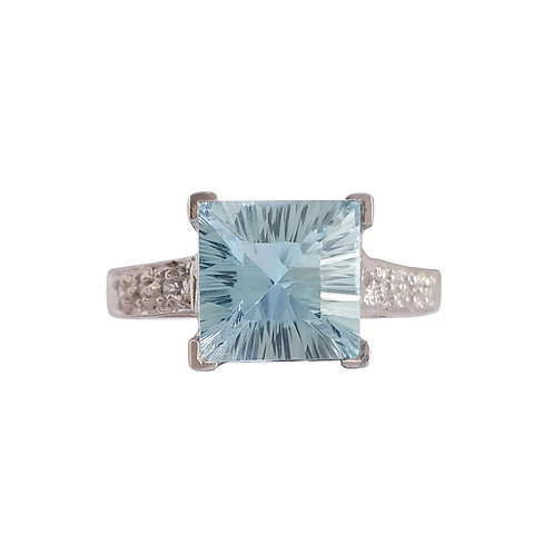 2.30ctw Natural Topaz and CZ Ring in 925 Sterling Silver