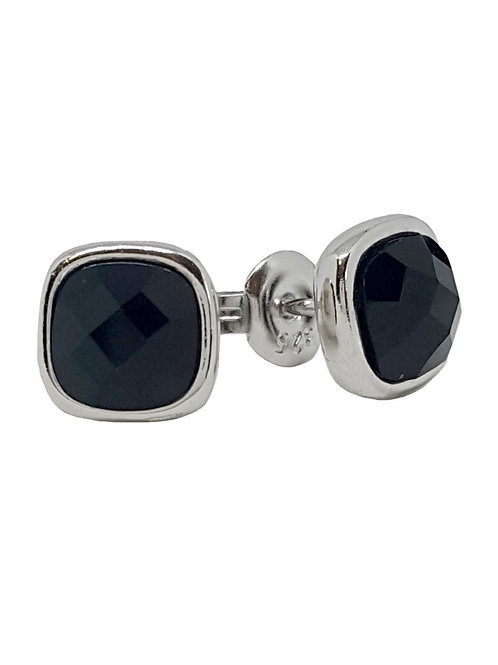 Black CZ Square style Stud Earrings in 925 Sterling Silver