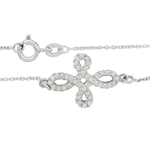 0.21ct Clear Cubic Zirconia Cross Over Charm 925 Sterling Silver Bracelet