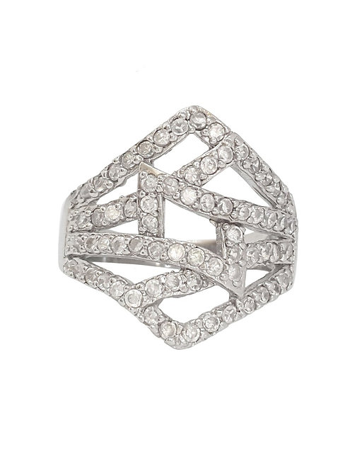 Abstract CZ ring in Sterling Silver