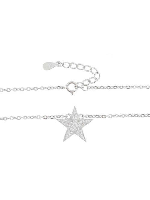 Clear CZ Star Pendant with Chain in 925 Sterling Silver