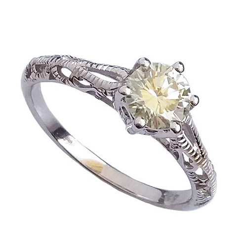 *CD DESIGNER* 0.825 ct Moissanite Edwardian Inspired Ring