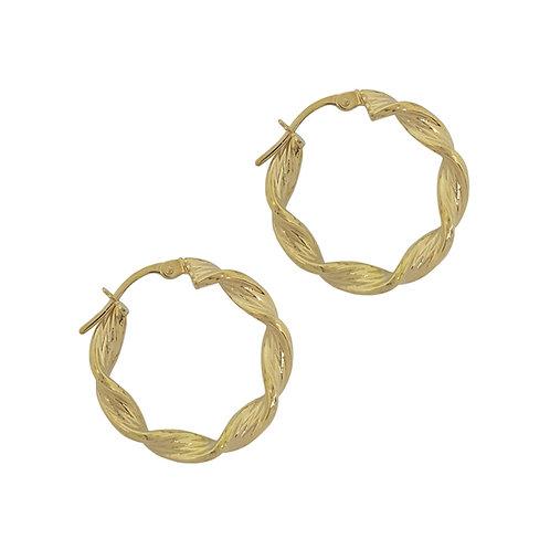 9K Yellow Gold 15mm Line Twist Hoop Earrings