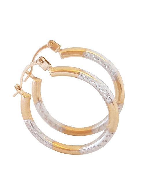9ct Two Tone Gold Patterned Hoop Earrings