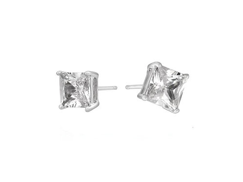 6mm Princess Studs in 925 Sterling Silver