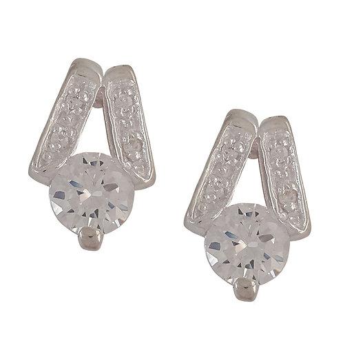 Cubic Zirconia Stud Earrings in 925 Sterling Silver