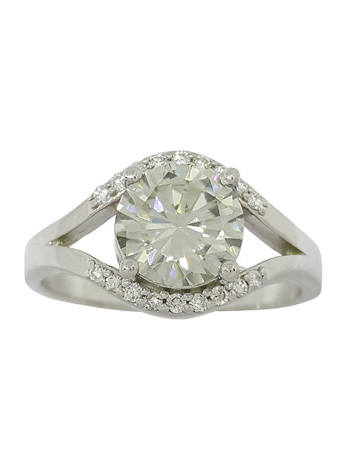 *CD DESIGNER* 1.7ct Moissanite and Diamond Ring in 9ct White Gold