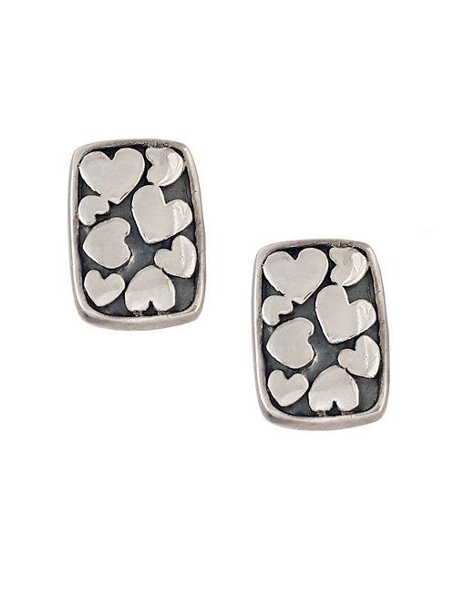 925 Sterling Silver Earrings with heart pattern