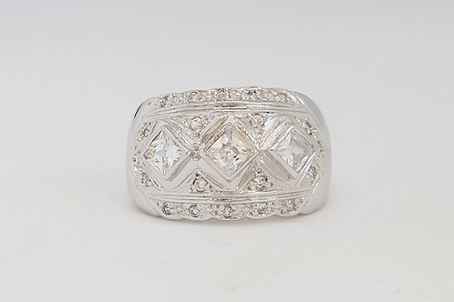Princess Trilogy CZ ring in Sterling Silver