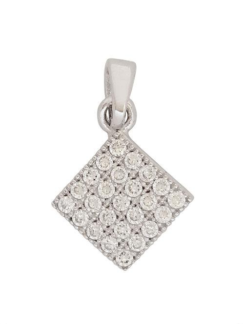 925 Sterling Silver Square CZ Pendant