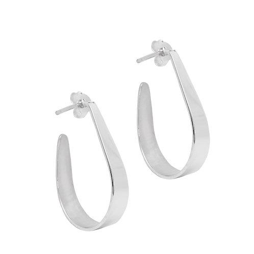 35mm Flat Hoop Earring in 925 Sterling Silver