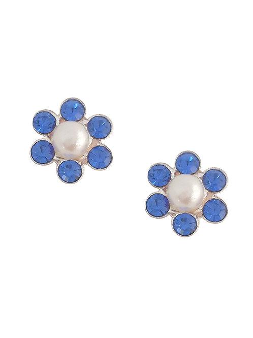 Blue Crystal and Faux Pearl Flower Stud Earrings in Sterling Silver