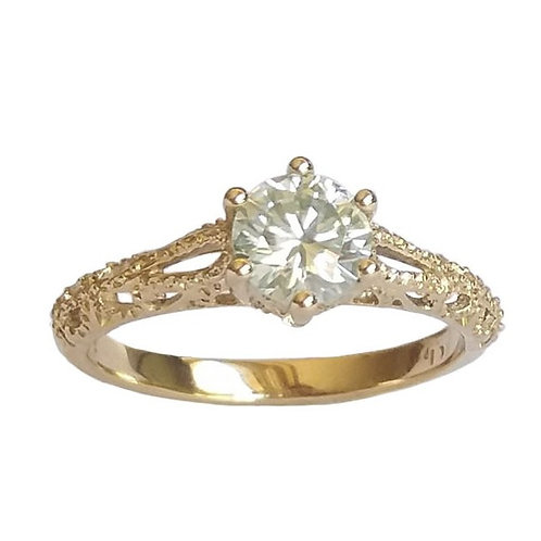 *CD DESIGNER* 0.844ct Moissanite Victorian Style Ring in 9K Yellow Gold