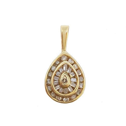 0.4ctw Diamond Tear Drop Pendant in 10kt Yellow Gold