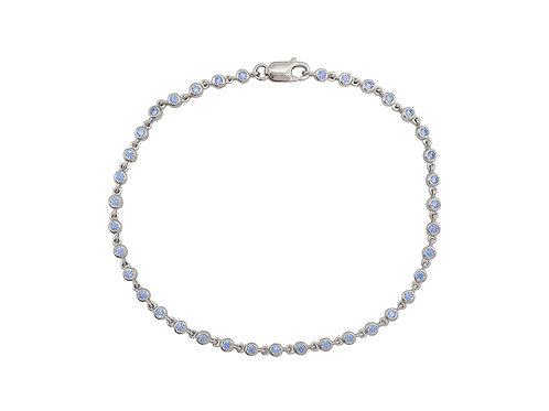Blue Cubic Zirconia Tennis Bracelet in 925 Sterling Silver