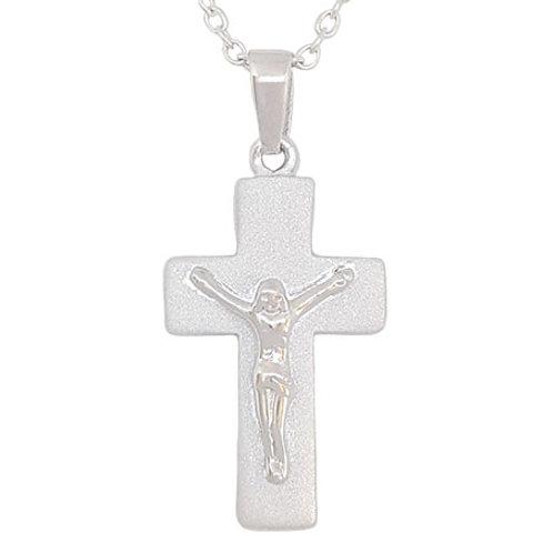 Satin Finish Cross Pendant in 925 Sterling Silver