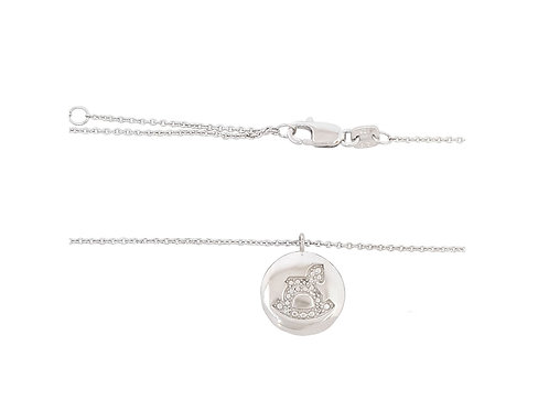 Baby Diamond Pendant in Sterling Silver with a Chain