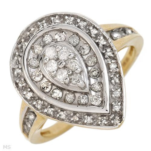 Pear Cluster Diamond Ring in 10K Two Tone Gold- Size 8