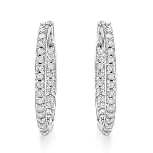 0.25ctw Diamond Hoop Earrings in 10K White Gold