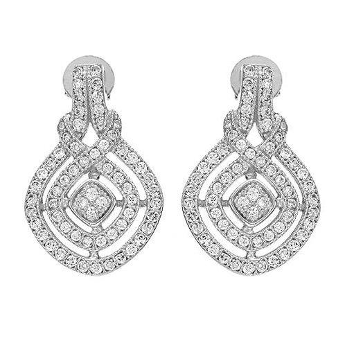 CZ Vintage Drop Earrings in Sterling Silver