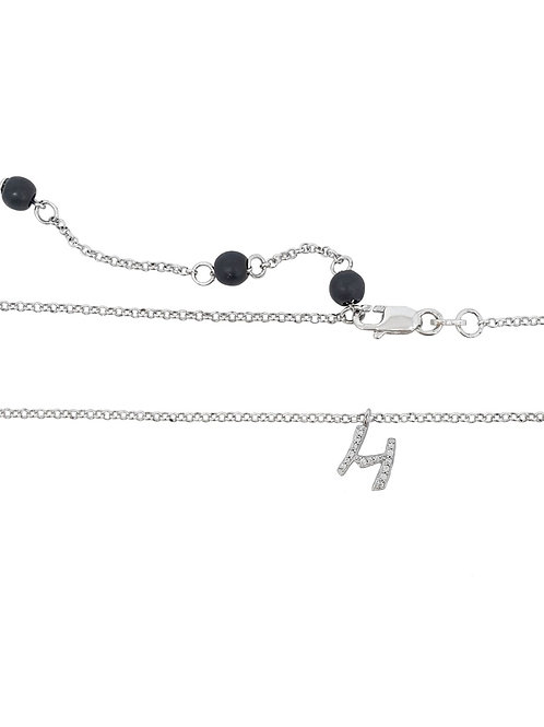 925 Sterling Silver Letter 'H' Pendant with CZs and rolo style Necklace
