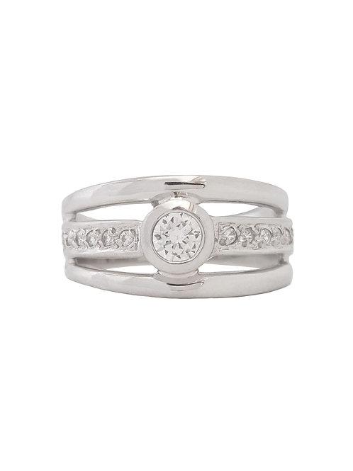 *CD DESIGNER* 0.23ctw CZ Broad Ring in Sterling Silver