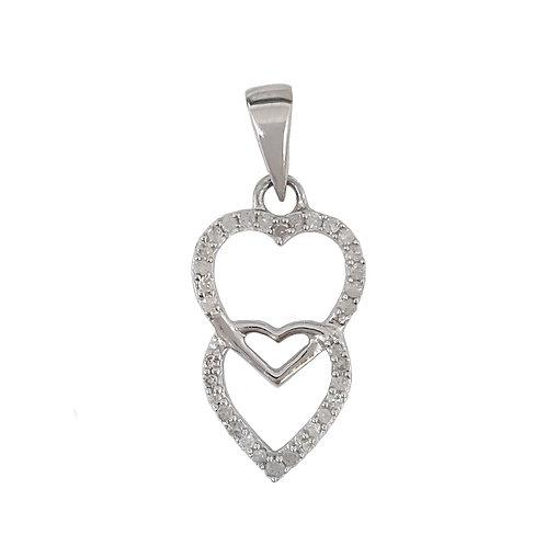 0.15ctw Diamond Double Heart Pendant in 10K White Gold