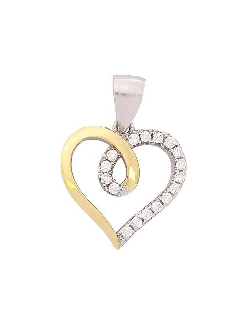 CZ Heart Pendant in 925 Sterling Silver