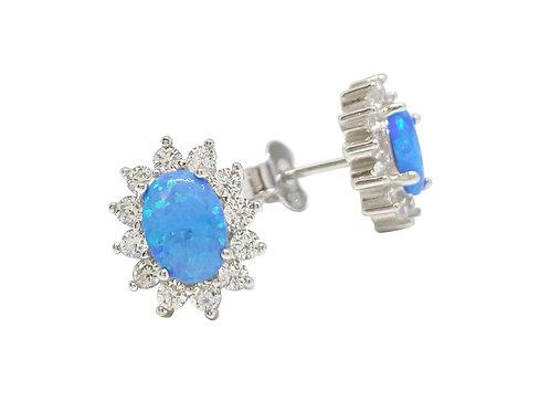 Oval Cut Opal and Clear CZ Stud Earrings in 925 Sterling Silver