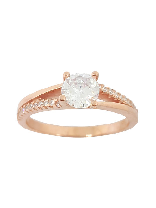 0.81ctw CZ Rose Gold Plated Split Band Ring in 925 Sterling Silver