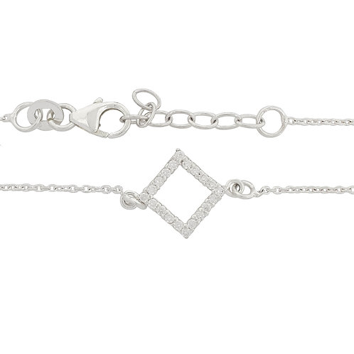 0.10ct Clear Cubic Zirconia Square Charm 925 Sterling Silver Bracelet