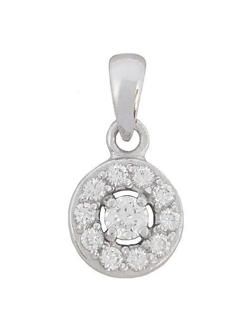 0.16ctw Cubic Zirconia Round Pendant in 925 Sterling Silver