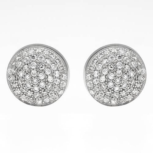Cluster Set CZ Round Shape Studs in Sterling Silver