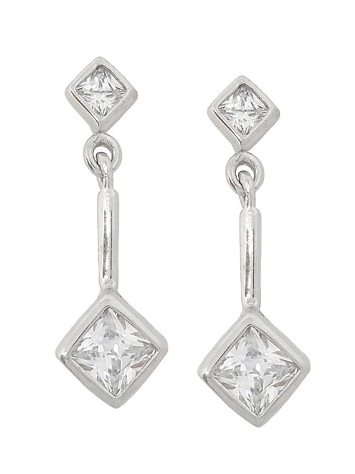 *CD DESIGNER* 0.86ctw CZ Princess dangle earrings